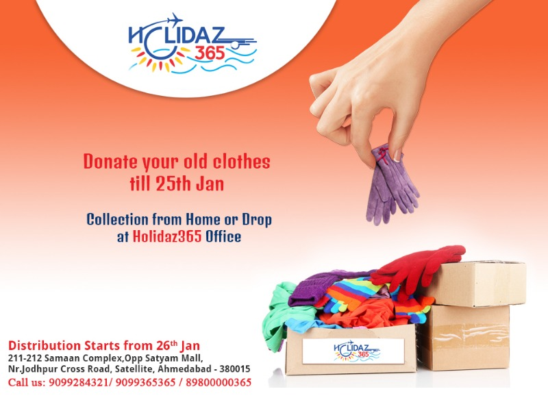 Donate old clothes and get FREE HOLIDAZ 365 Gift vouchers!