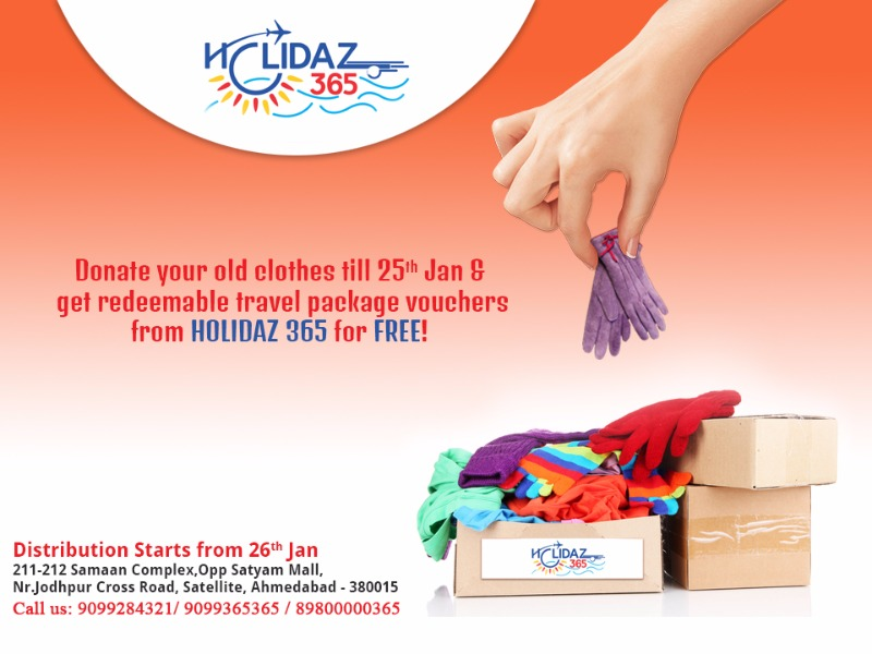 Get FREE HOLIDAZ 365 vouchers on donating your old clothes!