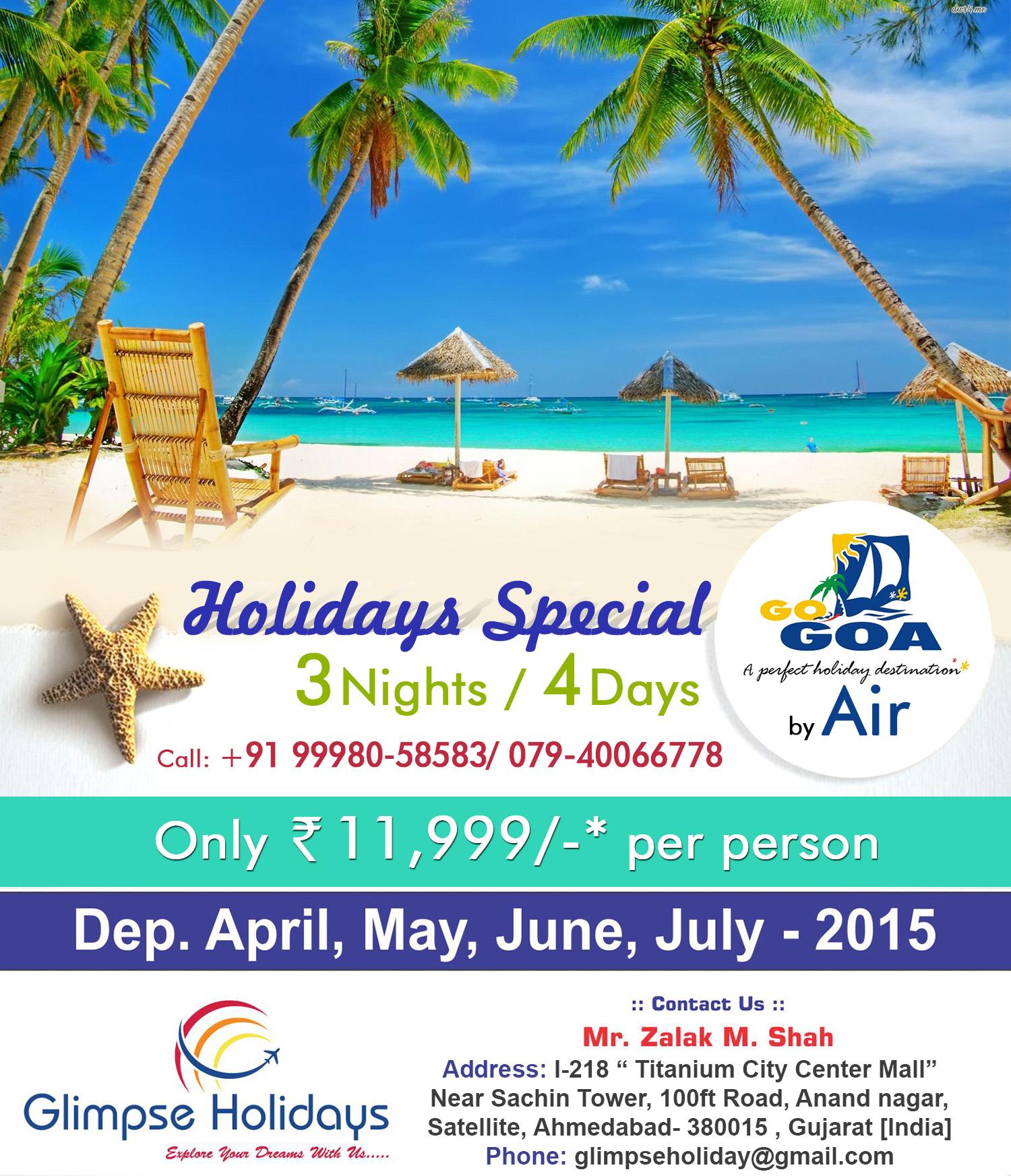 Go goa with Glimpse Holidays!