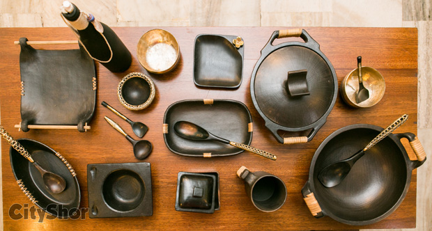 Eccentric Black Clay Pottery Utensils and Cutlery