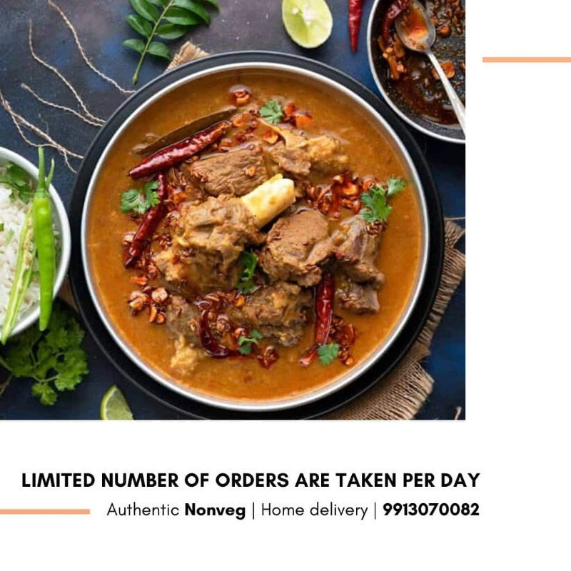 Authentic dishes dishes homemade n delivered- ONLY NONVEG