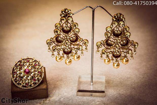 Eccentric kundan and temple Jewellery at MAUVE UNITx