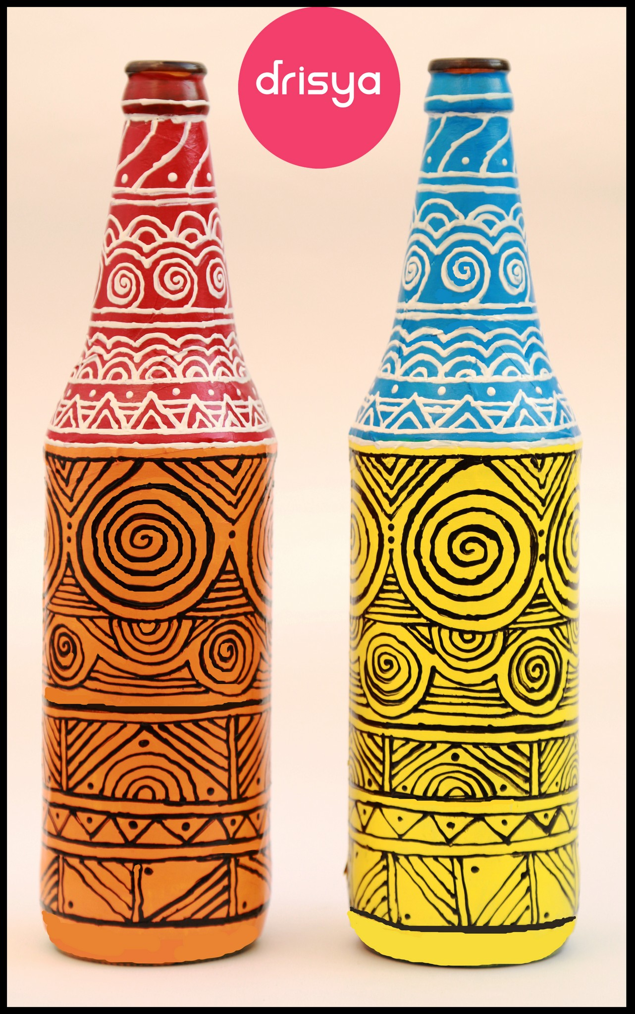 Hand-painted designer bottles from Drisya